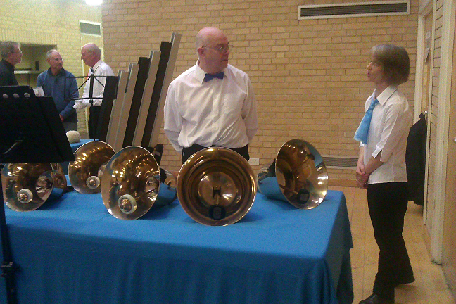 Picture of handbells and handbell ringers