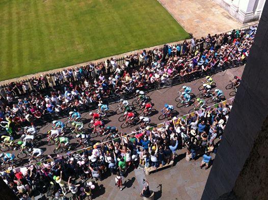 Photo taken from roof of Great St. Mary's church when Tour de France went past